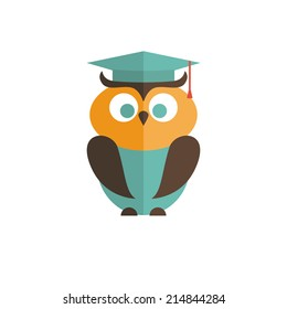 Owl isolated on white background. Flat icon. Vector illustration