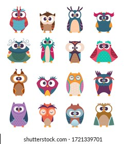 Owl kids. Cute baby birds in various poses vector colored funny wild animals cartoon collection