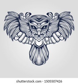 owl line art decorative tattoo