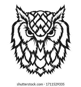 Owl line art mascot logo