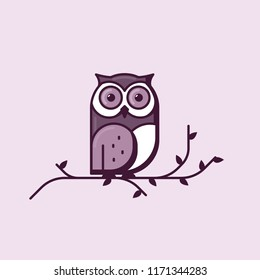 Owl line style vector. Big owl sitting on tree branch with leaves. Big bright eyes and dark shadows on feather. Knowledge and wisdom owl concept. Bird line design in purple and grey colors.