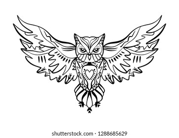 Owl line work tattoo. Boho tribal style. Line ethnic ornaments. Poster, spiritual art, symbol of wisdom. Antistress art. Good for t-shirts design, bags, phone cases, room posters and postcards