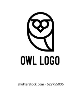 Owl Logo In Black And White Isolated Vector Graphic