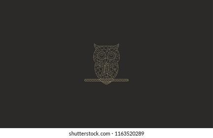 owl logo with cross line shape or mandala art for logo design or illustration use