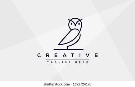 Owl logo design and icon concept in line art modern style.