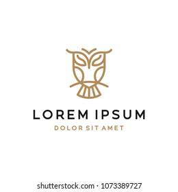 Owl logo and icon concept. Logo available in vector. Linear style.