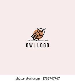 Owl logo line art vector designs