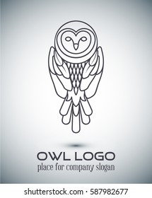 Owl Logo lineart Template.Line art, thin line style logotype, simple cute owl icon , place for text .