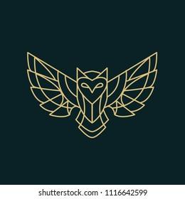 owl logo of lines