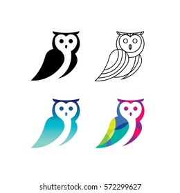 Owl logo set.
