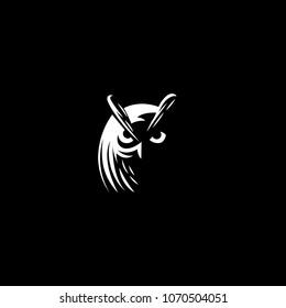 Owl logo set- vector illustrations. Emblem design on black background.
