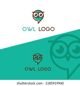 owl logo as speech balloon