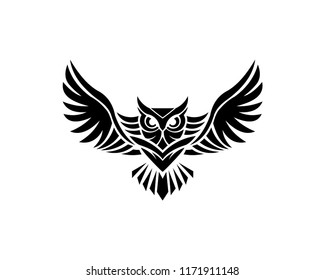 Owl logo - vector illustration. Emblem design on white background