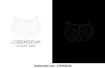 Owl logo - vector illustration. wise hand drawn sitting wise owl, owl head closeup set.animal geek logo ,owl wings silhouette,geometric abstract owl,marine animals low poly,owl flying logo line art 4