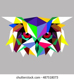 Owl. Low poly owl. Low poly illustration owl