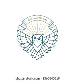 Owl. Owl luxury logo with ribbon and shining rays. Owl hand drawn vector illustration.