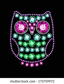 Owl Made Of Colored Gems