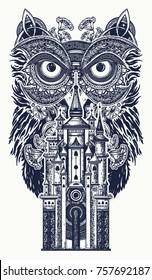 Owl and magic castle tattoo art. Symbol of wisdom, meditation, thinking, fairy tales t-shirt design