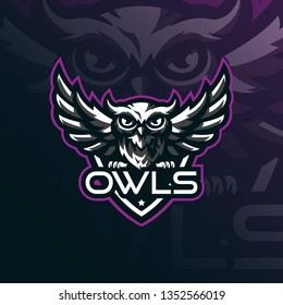 owl mascot logo design vector with modern illustration concept style for badge, emblem and tshirt printing. angry owl illustration for sport team.