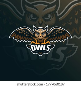 owl mascot logo design vector with modern illustration concept style for badge, emblem and tshirt printing. owl illustration for sport team.