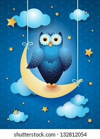 Owl and moon, nocturnal sky. Vector illustration