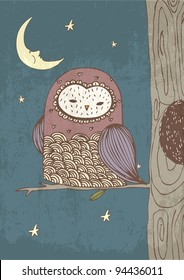 owl with moon and stars illustration/vector