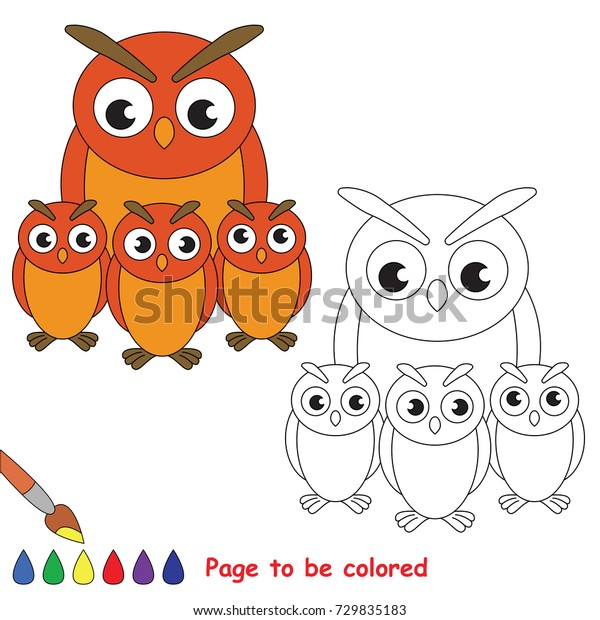 Owl Mother Her Baby Be Colored Stock Vector Royalty Free 729835183
