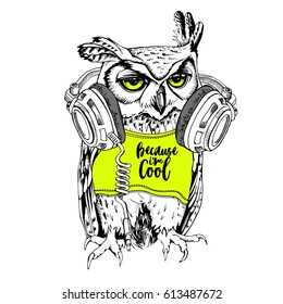 Owl in a neon yellow t-shirt and with a headphones. Vector illustration.