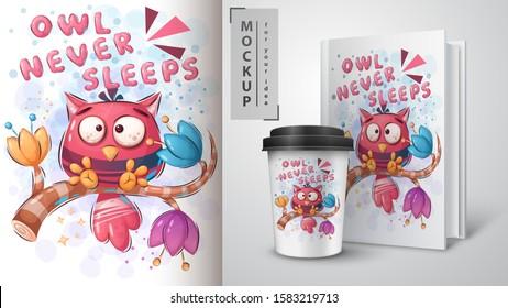 Owl never sleeps poster and merchandising. Vector eps 10