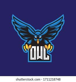 Owl Night Bird esport mascot emblem logo design vector template