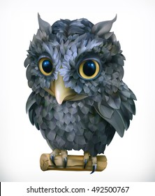 Owl, night bird. Funny animal 3d vector icon