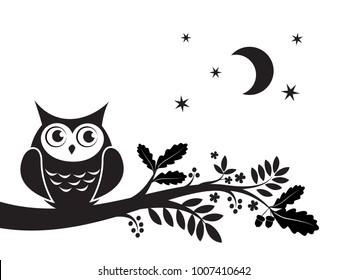 Owl nursery decor. Abstract animal wall art