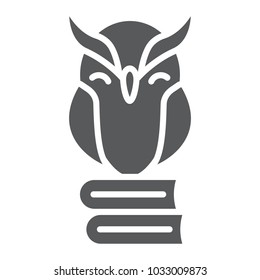 Owl on books glyph icon, e learning and education, knowledge sign vector graphics, a solid pattern on a white background, eps 10.