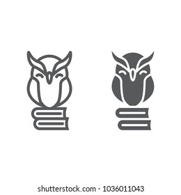 Owl on books line and glyph icon, e learning and education, knowledge sign vector graphics, a linear pattern on a white background, eps 10.
