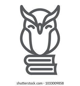Owl on books line icon, e learning and education, knowledge sign vector graphics, a linear pattern on a white background, eps 10.