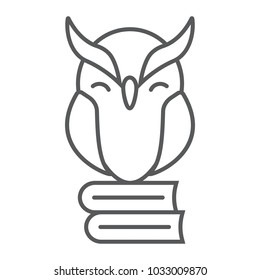 Owl on books thin line icon, e learning and education, knowledge sign vector graphics, a linear pattern on a white background, eps 10.