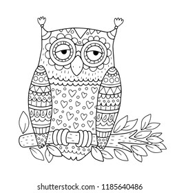 Owl on a branch. Coloring page illustration for kids or adults. Vector drawing in outline in black and white.