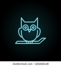 Owl on the branch icon in neon style. Simple outline vector of halloween set for UI and UX, website or mobile application