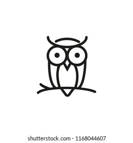 Owl on branch line icon. Wise, bird, forest. Halloween concept. Vector illustration can be used for topics like fauna, education, night