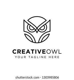 Owl on creative industry logo template: mono line style