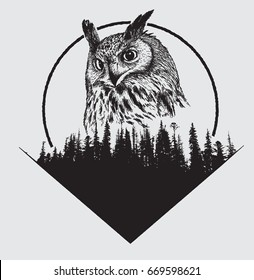 owl on forest silhouette background and moon.Hand drawn vector illustration.Prints design for t-shirts.Retro old style.