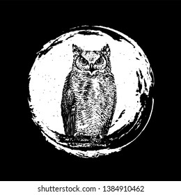 Owl on the moon. Hand-drawn black ink dirty artistic design element. The Vector logo owl for T-shirt design or outwear. Round banner, box, frame, insignia, logo, icon, label, badge, background.