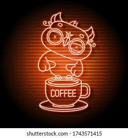 An Owl On A Neon Book Sign. Smart Owl With A Coffee Mug Night Bright Advertising. Vector Illustration In Neon Style For Education And Literacy