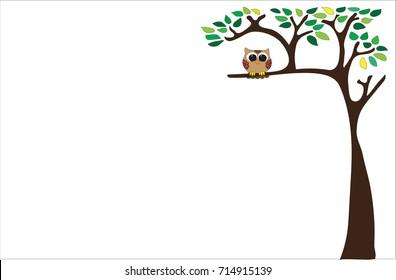 An owl on a tree cartoon vector very cute