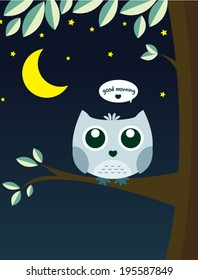 Owl on tree with moon and star with massage good morning vector cartoon