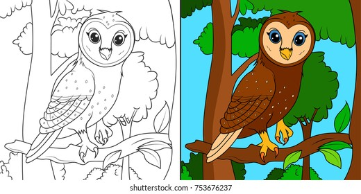 Owl on the trees, line art illustration for coloring book or page