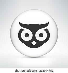 Owl on White Round Button