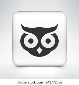 Owl on White Square Button
