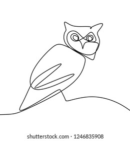 Owl one continuous line art drawing vector illustration isolated on white background.