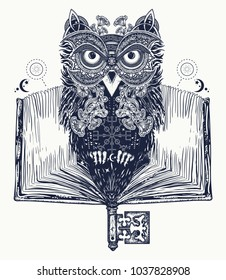 Owl and open book tattoo and t-shirt design. Symbol of education, literature, poetry, wisdom, reading